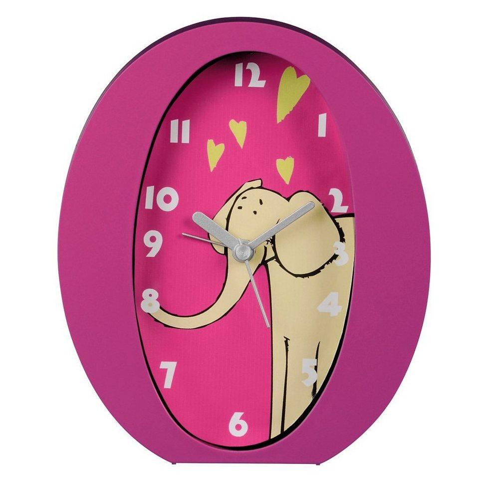 Hama Kinderwecker Wecker Uhr mit analoger Anzeige, geräuscharm »Elefant« in Pink