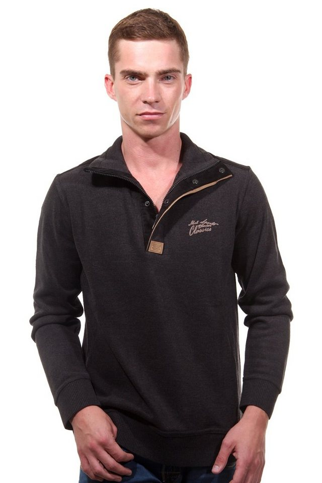 MCL Sweatshirt Stehkragen slim fit in schwarz