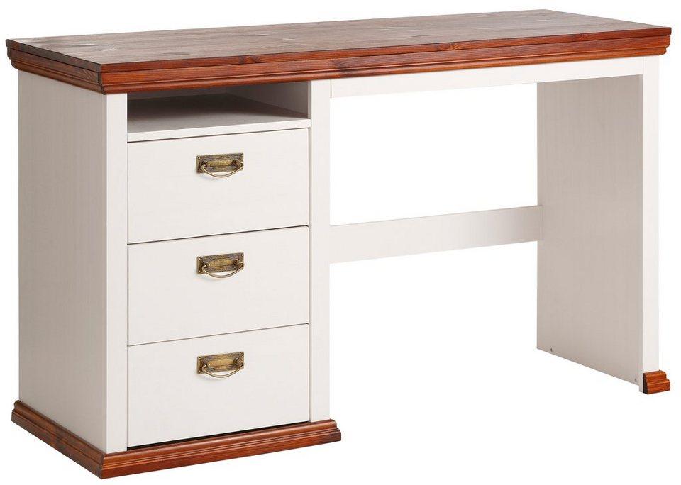 Schreibtisch, Home affaire, »Konrad« Breite 129 cm in weiß/kirschbaumfarben