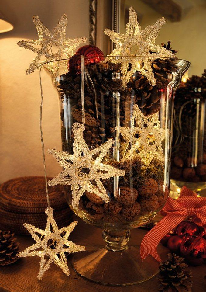 LED Acryl Sternen Lichtervorhang, Konstsmide in weiß