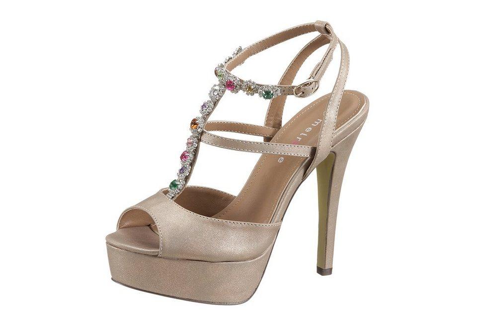 Melrose High Heel Sandalette mit Glitzersteinchen in goldfarben