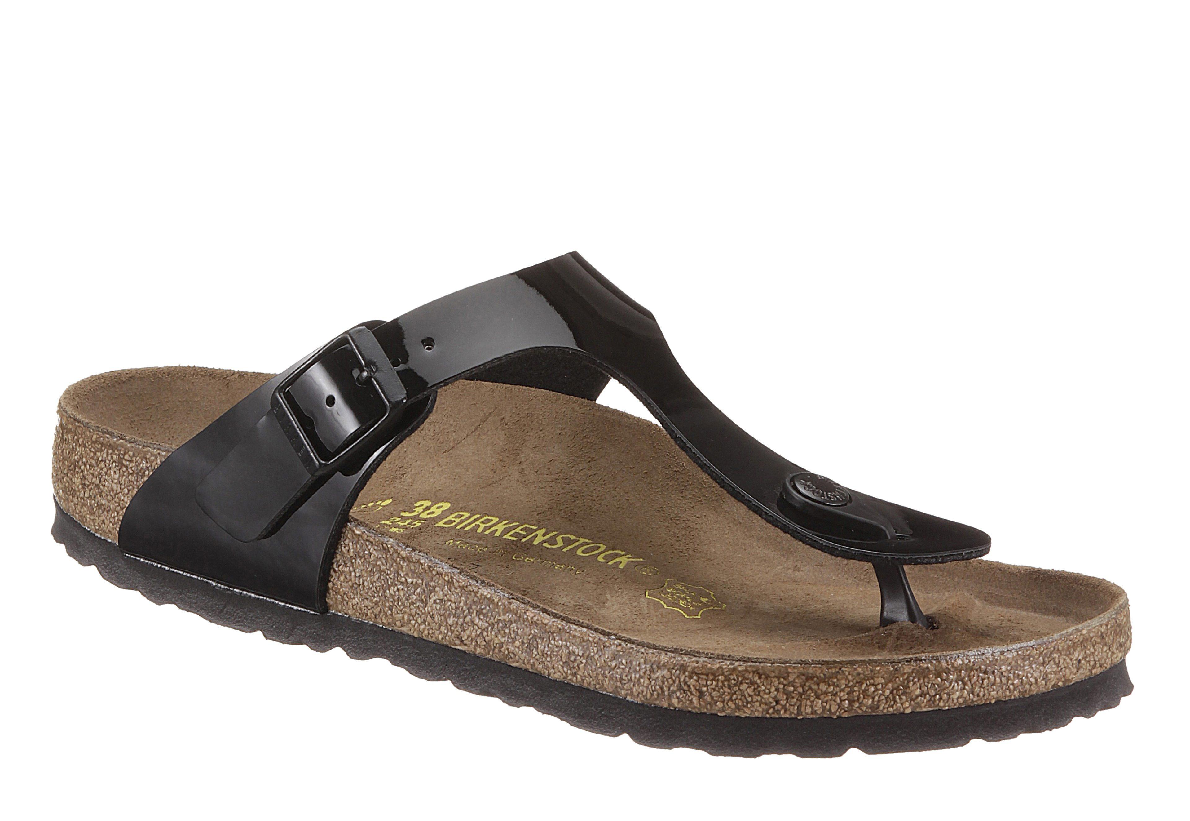 Birkenstock GIZEH Zehentrenner, in schmaler Schuhweite und Lack-Optik online kaufen  schwarz