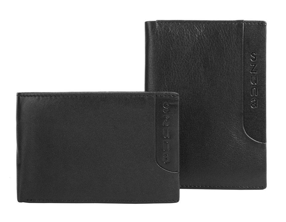 SZUNA Herren Leder Geldbörse mit extra Ausweisetui in schwarz
