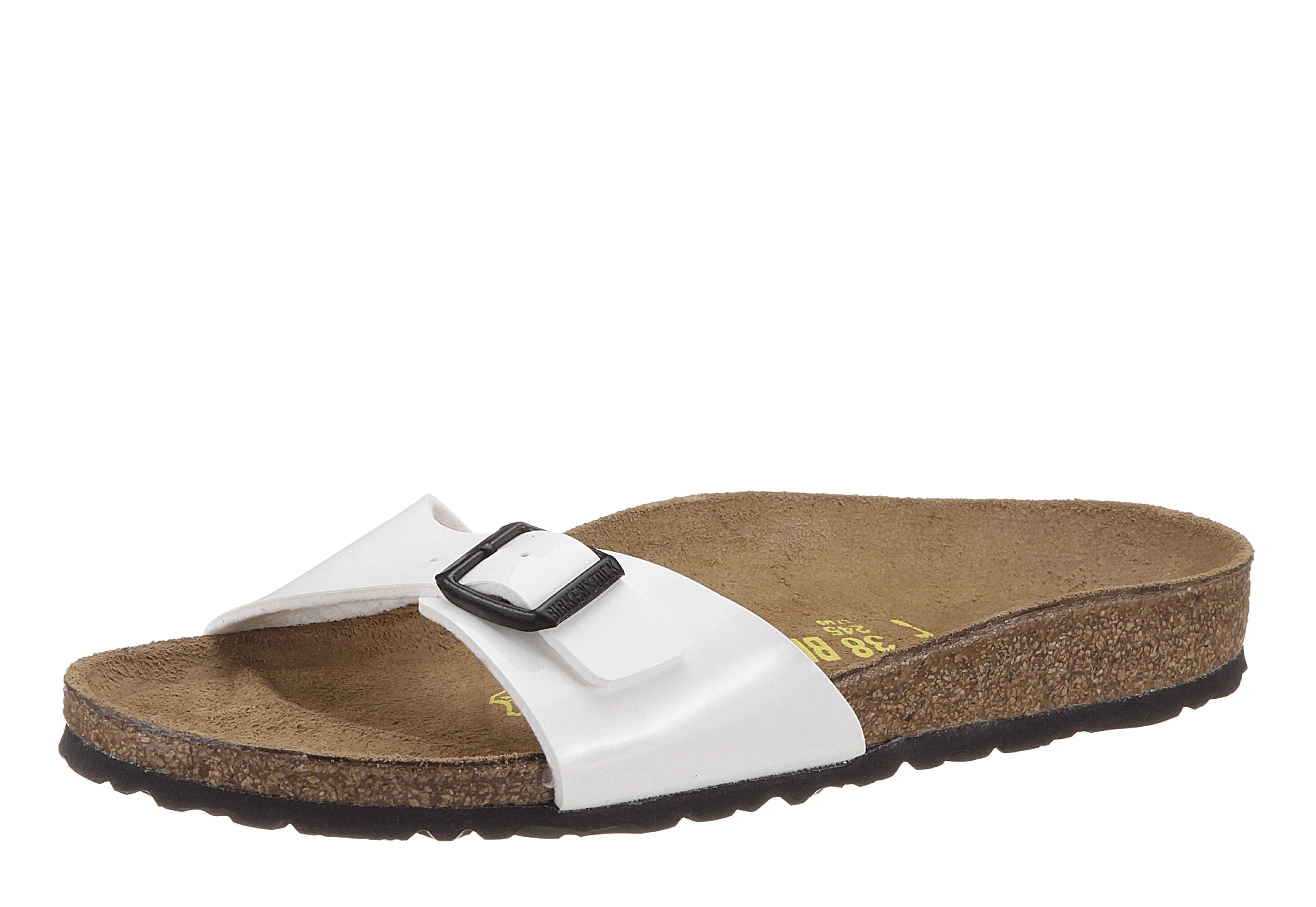 Birkenstock MADRID Pantolette, in schmaler Schuhweite, Lack-Optik! online kaufen  weiß