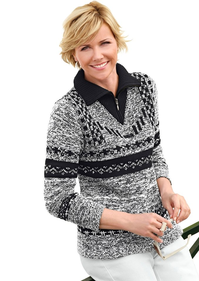 Collection L. Pullover aus kuschelig weichen Chenillegarnen in schwarz-weiß-meliert