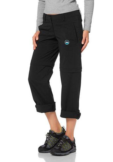Polarino Trekkinghose, Hose kann in 3 Längen getragen werden, Hosenbeine zur 7/8 Länge aufkrempelbar und mit Riegel und Knopf fixierbar, Abzippbare Hosenbeine