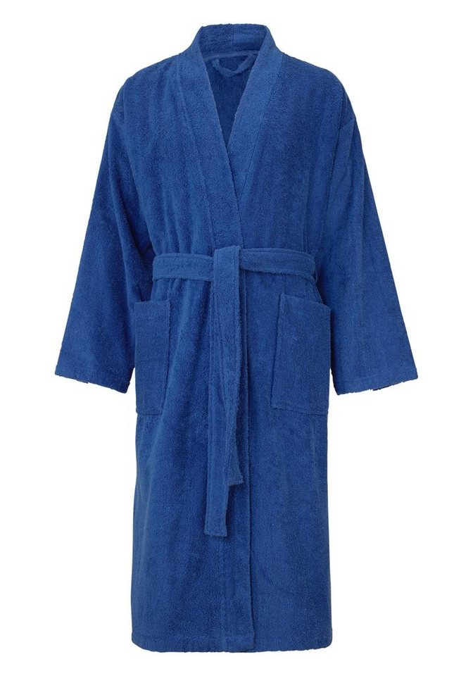 Herrenbademantel, my home, »Paul«, mit Kimono-Kragen in blau