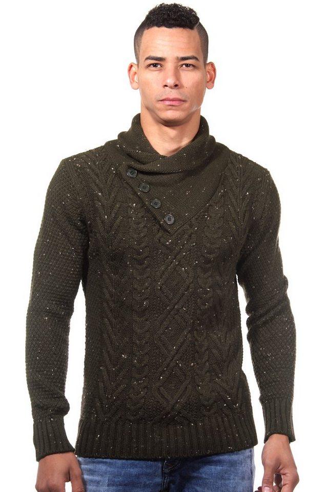 R-NEAL Pullover Schalkragen slim fit in khaki