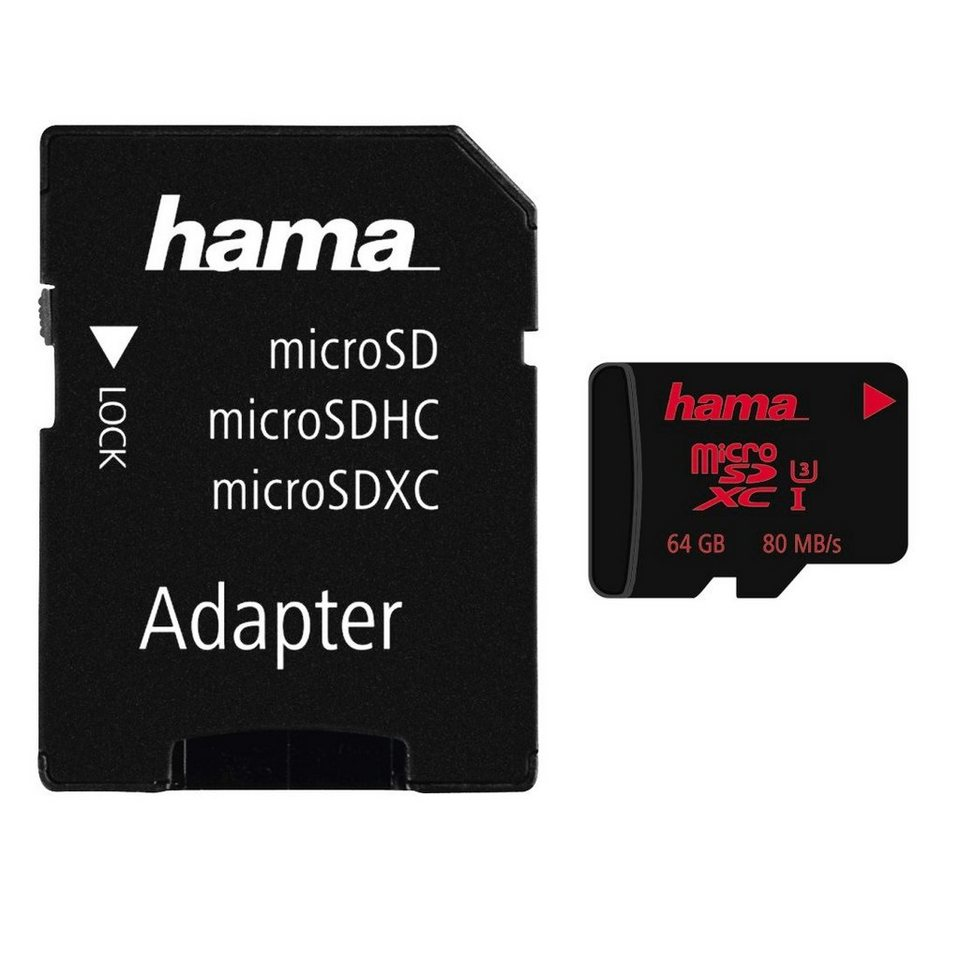 Hama microSDXC 64GB UHS Speed Class 3 UHS-I 80MB/s + Adapter/Mobile in Schwarz
