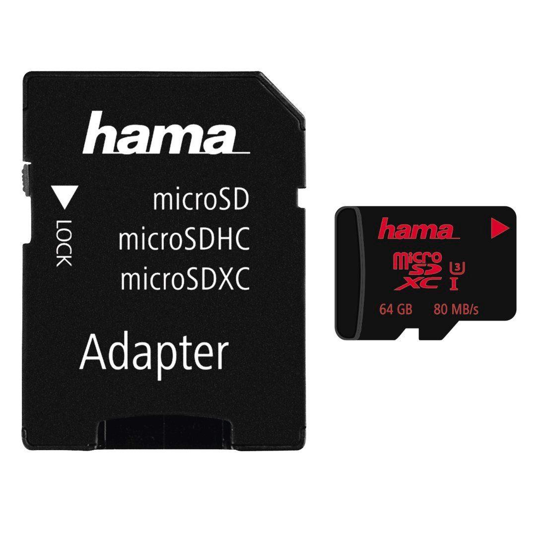 Hama MicroSDXC 64 GB UHS Speed Class 3 UHS-I 80 MB/s »Speicherkarte + Adapter/Mobile«