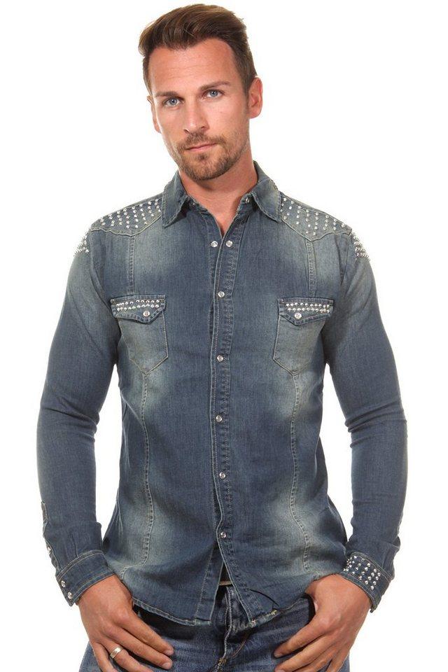 KINGZ Langarmhemd slim fit in blau