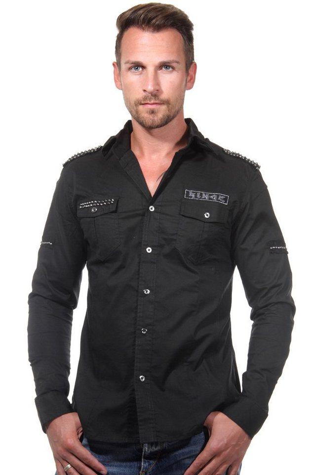 KINGZ Langarmhemd slim fit in schwarz