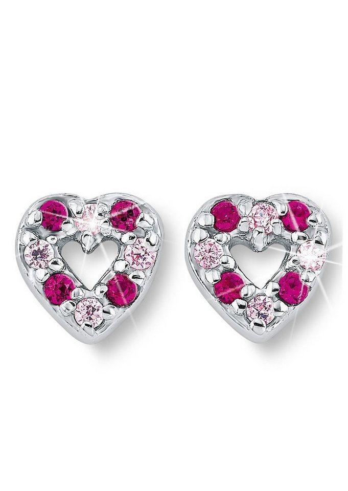 Paar Ohrstecker, »Herz PLF5/42«, Prinzessin Lillifee in silber 925/pink/rosa