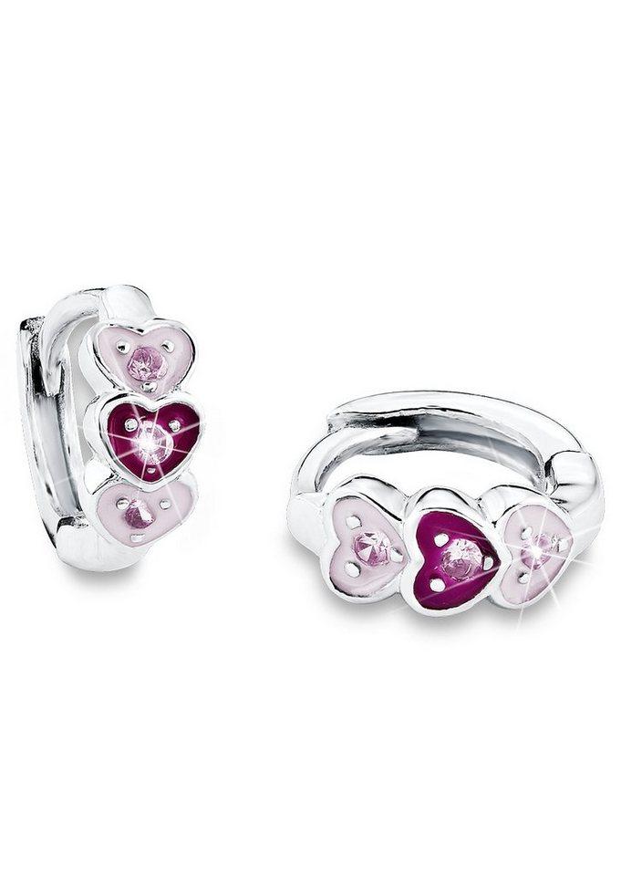 Paar Klappcreolen, »Herzen PLF5/17«, Prinzessin Lillifee in silber 925/rosa/pink