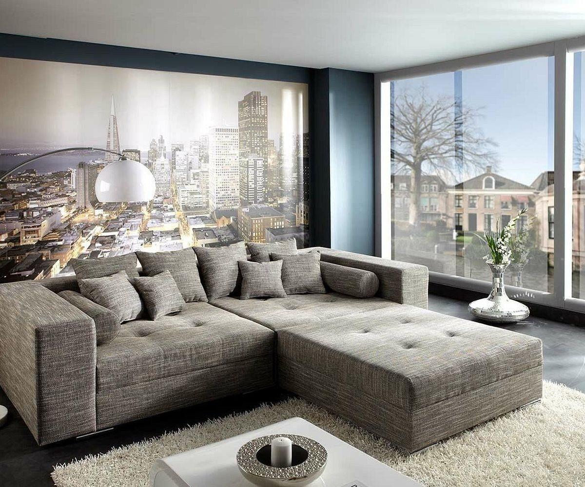 DELIFE XXL-Sofa Marlen Hellgrau 300x140 cm Polsterecke
