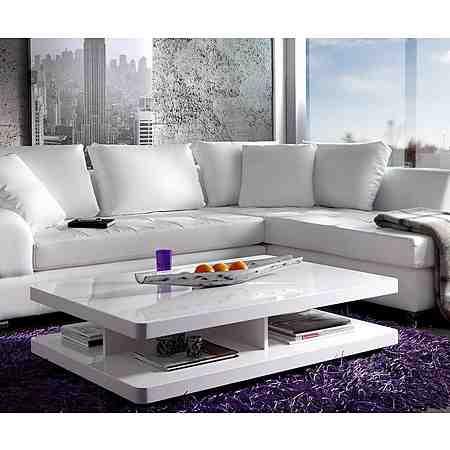 DELIFE Wohnzimmertisch Pocket Hochglanz Weiss 120x80 cm Tisch