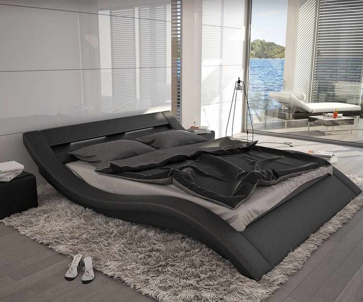 DELIFE Bett Leonas Schwarz 140x200cm Design Polsterbett mit Beleuchtung