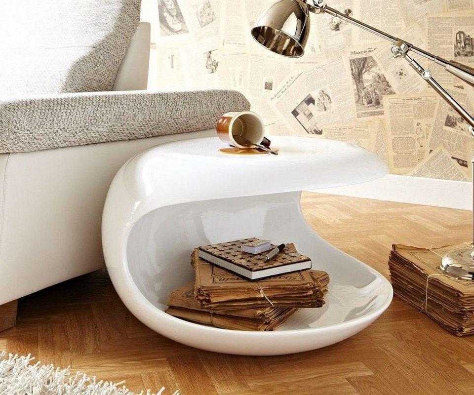 DELIFE Couchtisch Conch Hochglanz Weiss 62x38 cm rund Beistelltisch in Weiß