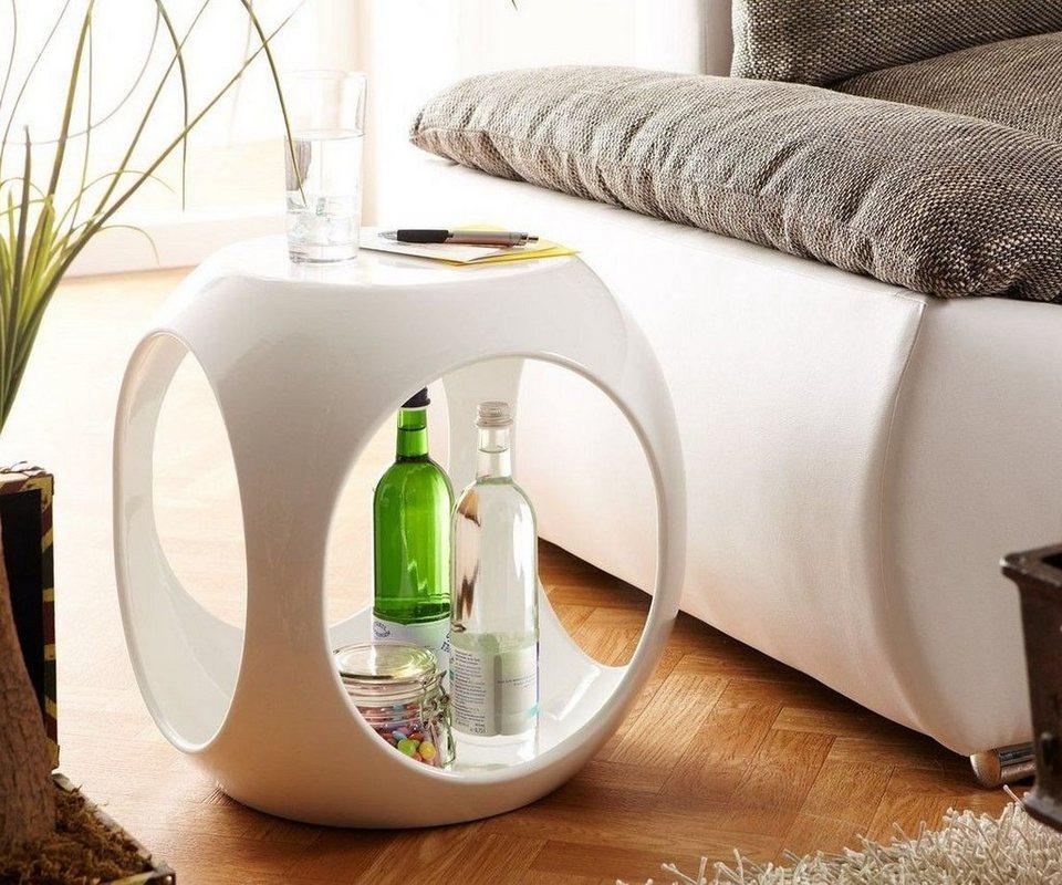 DELIFE Telefontisch Hollow Weiss Hochglanz 40x40 cm Beistelltisch oval in Weiß