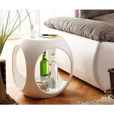 DELIFE Telefontisch Hollow Weiss Hochglanz 40x40 cm Beistelltisch oval