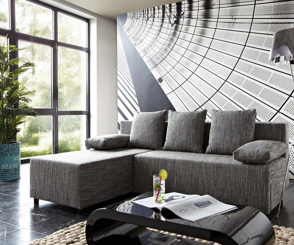 DELIFE Couch Janelle Grau 200x155 mit Schlaffunktion