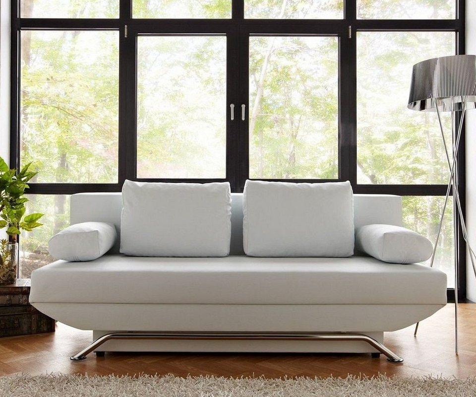 DELIFE Bettsofa Cady Weiss 200x90 cm Schlaffunktion und Bettkasten in Weiß