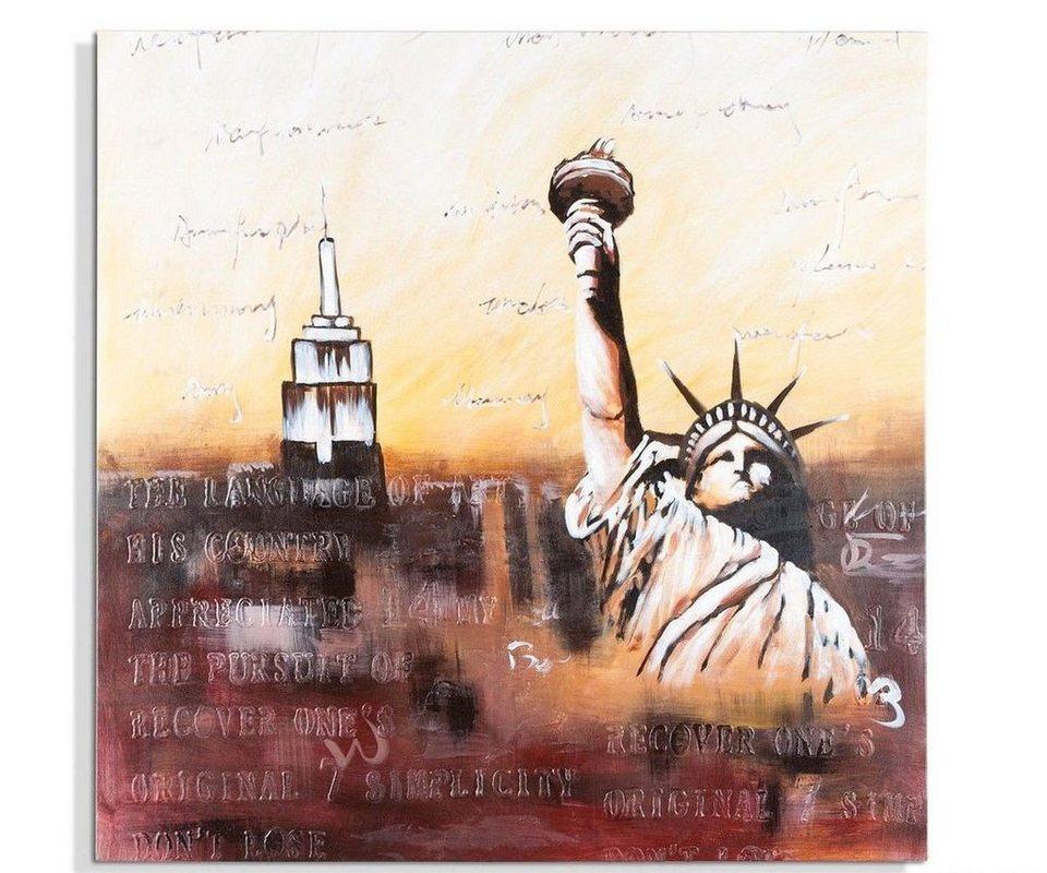 DELIFE Wandbild New York Mehrfarbig 80x80 cm handgemalt Gemälde in Farbig