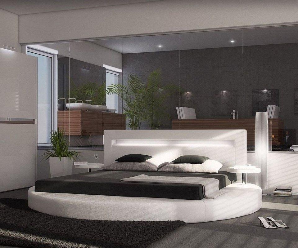 DELIFE Polsterbett Arrondi Weiss 180x200 Bett rund mit 2 Nachtkonsolen in Weiß