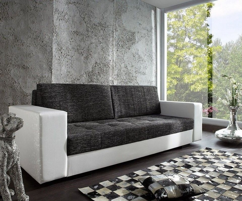delife couch giorgio weiss schwarz 250x100 schlafsofa inklusive online kaufen otto. Black Bedroom Furniture Sets. Home Design Ideas