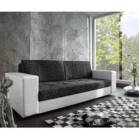 DELIFE Couch Giorgio Weiss Schwarz 250x100 Schlafsofa inklusive