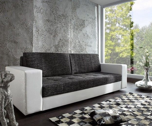 delife couch giorgio weiss schwarz 250x100 schlafsofa. Black Bedroom Furniture Sets. Home Design Ideas