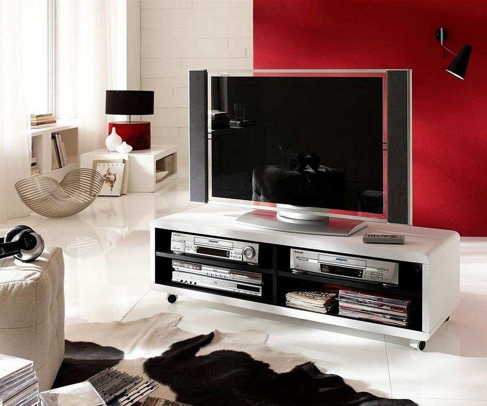 delife fernsehtisch akira weiss 120 cm rollen und 4 f cher. Black Bedroom Furniture Sets. Home Design Ideas