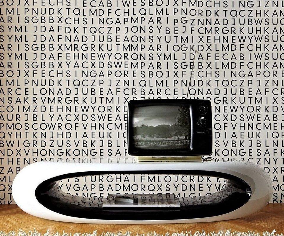 DELIFE Wohnzimmertisch Jay Weiss Schwarz 120x53 cm Füsse abnehmbar in Weiß