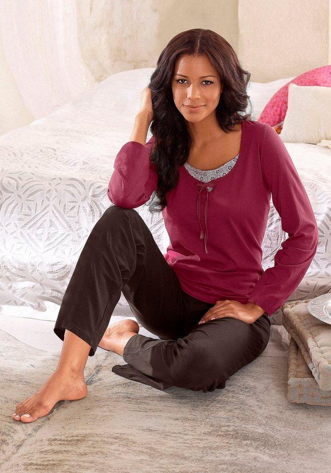 s.Oliver RED LABEL Bodywear Pyjama mit raffiniertem Ausschnitt im Layerdesign in beere-braun