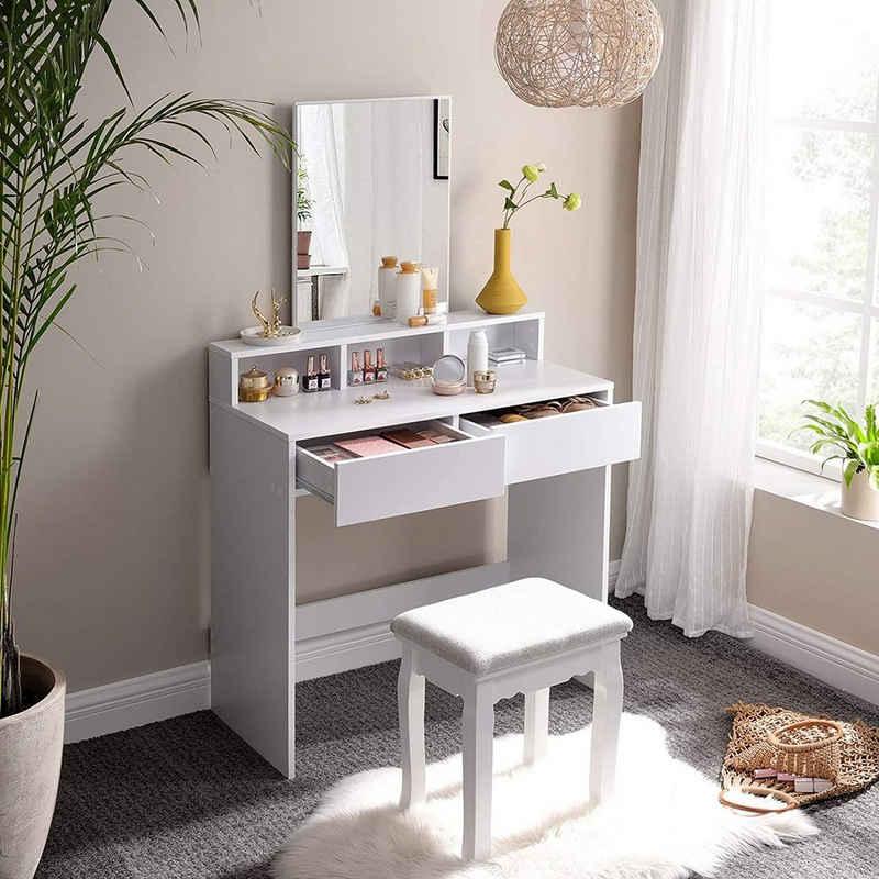 VASAGLE Schminktisch »RDT113W01«, Frisiertisch,Kosmetiktisch mit Spiegel und 2 Schubladen,weiß