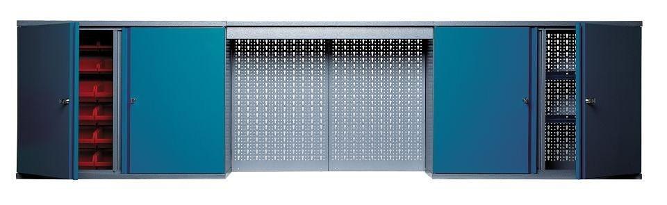 Küpper Hängeschrank »mit Lichtblende, 4 Türen, 4 Einlegeböden, 36 Sichtboxen, in hammerschlagblau« in blau