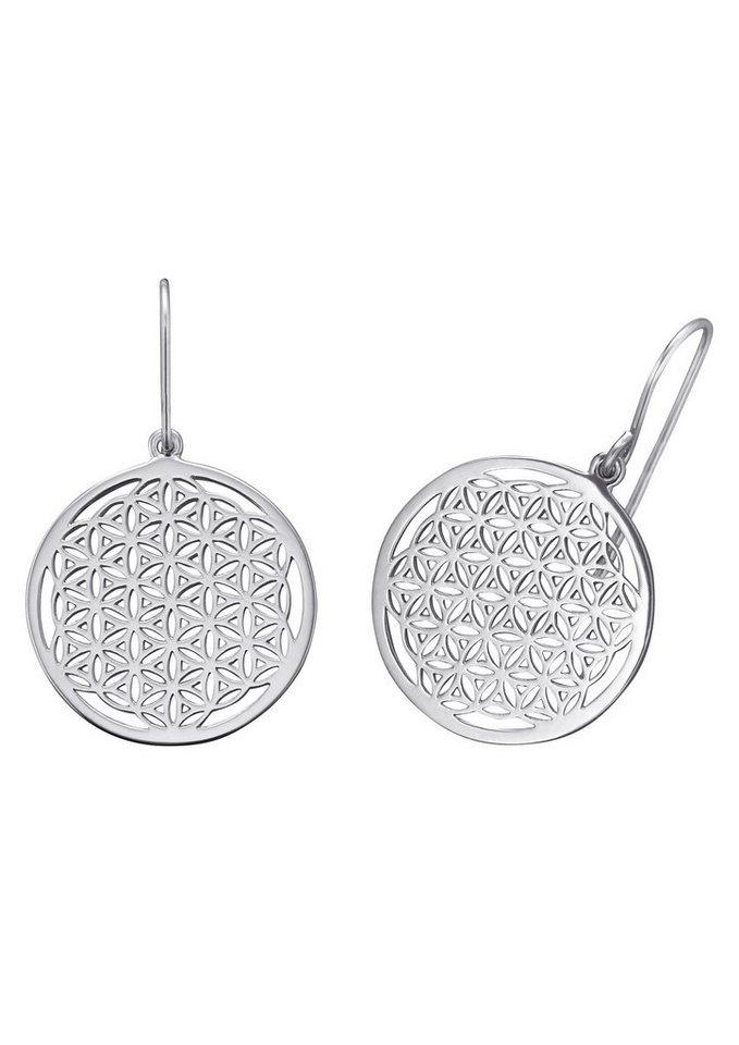 Paar Ohrhaken, »Lebensblume, ERE-LIFL«, Engelsrufer in Silber 925