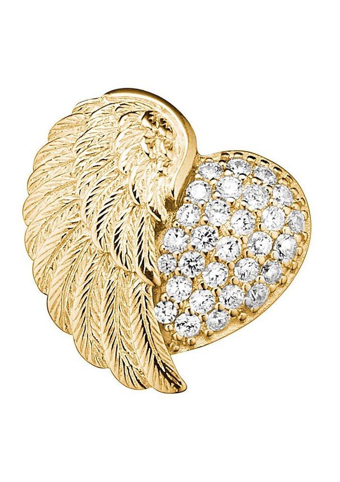 Engelsrufer Halsschmuck: Anhänger ohne Kette »Herzflügel mit Zirkonia ERP-HEARTWING-ZI-G« in Silber 925/vergoldet