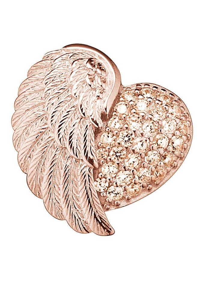 Anhänger, »Herzflügel mit Zirkonia, ERP-HEARTWING-ZI-R«, Engelsrufer in Silber 925/roségoldfarben vergoldet