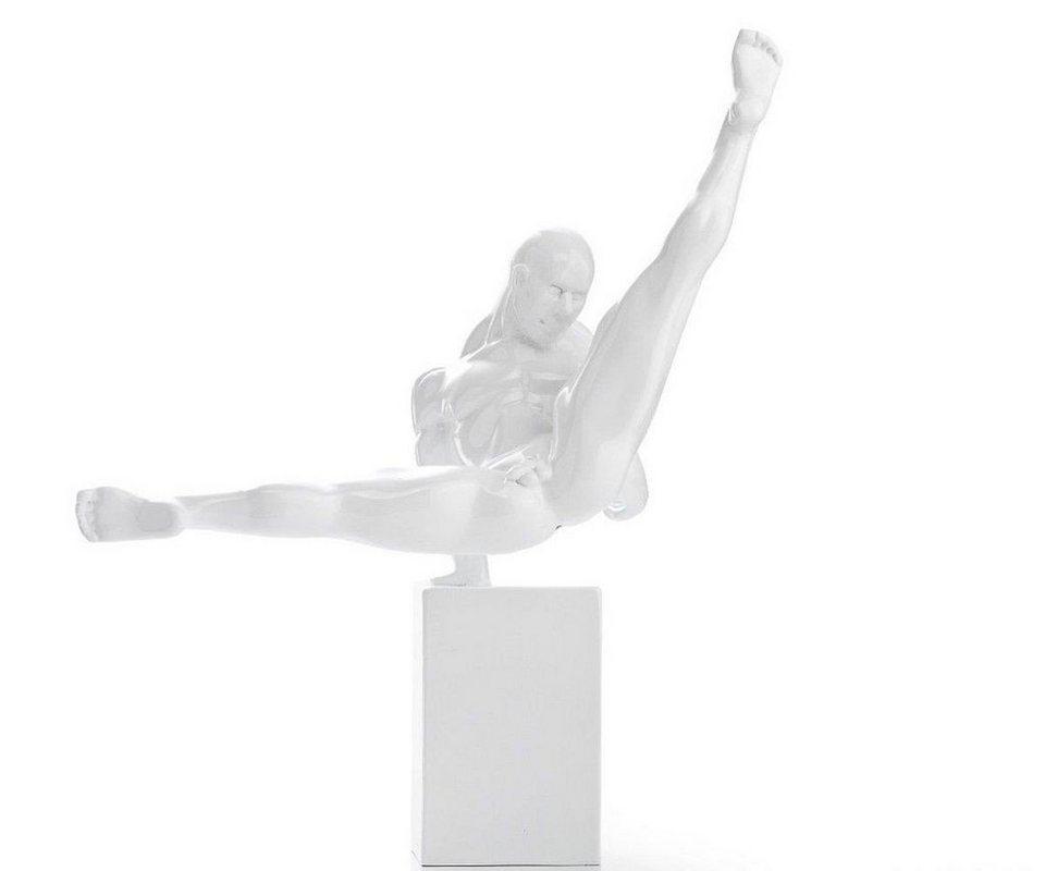 DELIFE Skulptur Sportler Weiss 38x41 cm Dekofigur Wohnaccessoire in Weiß