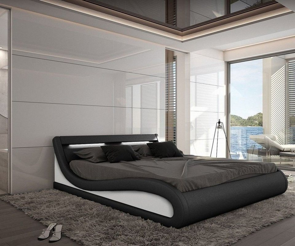 delife bett jeebee schwarz 180x200cm polsterbett mit beleuchtung 180 cm online kaufen otto. Black Bedroom Furniture Sets. Home Design Ideas