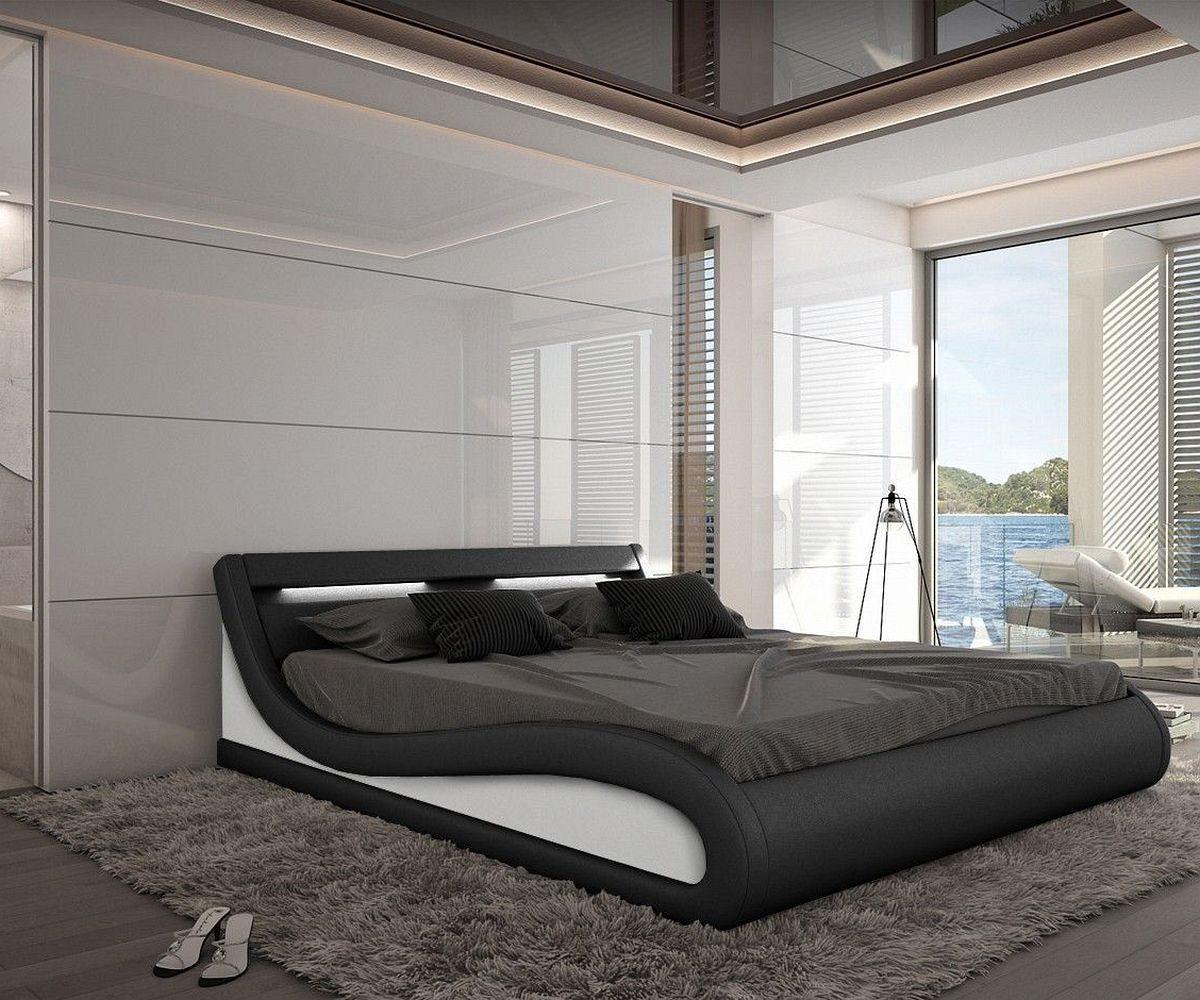 DELIFE Bett Jeebee Schwarz 180x200cm Polsterbett mit Beleuchtung 180 cm