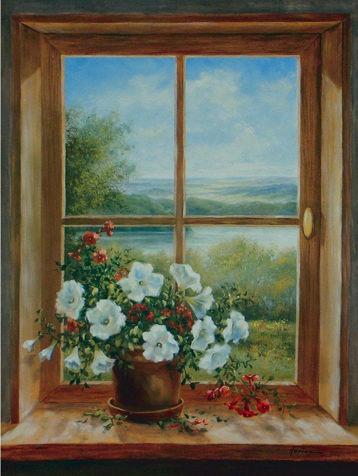 Bild, Kunstdruck, Home affaire, »A. Heins: Blumen am Fenster«, 57/79 cm in Braun