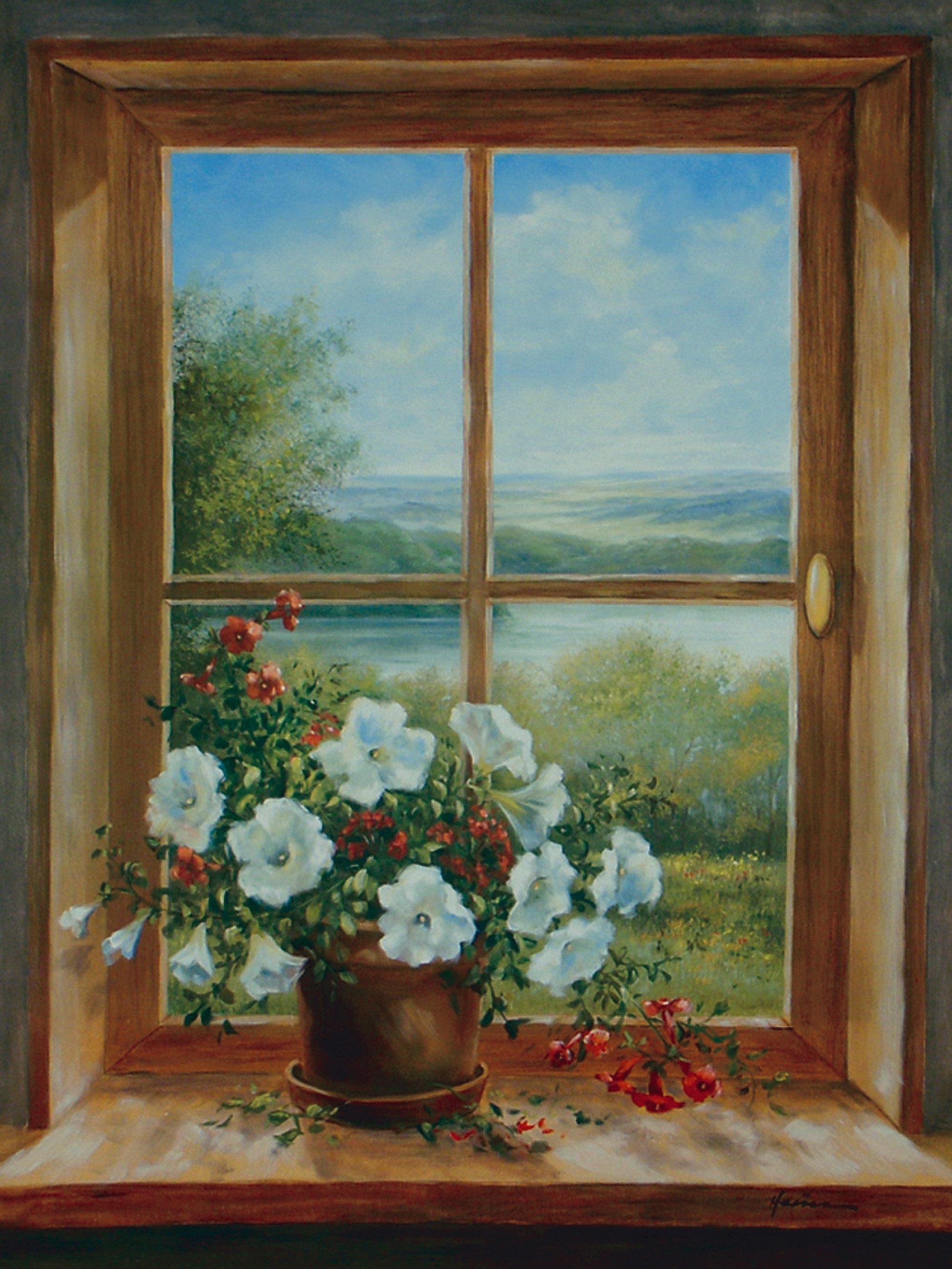 Home affaire, Leinwandbild, »A. Heins: Blumen am Fenster«, 57/79 cm
