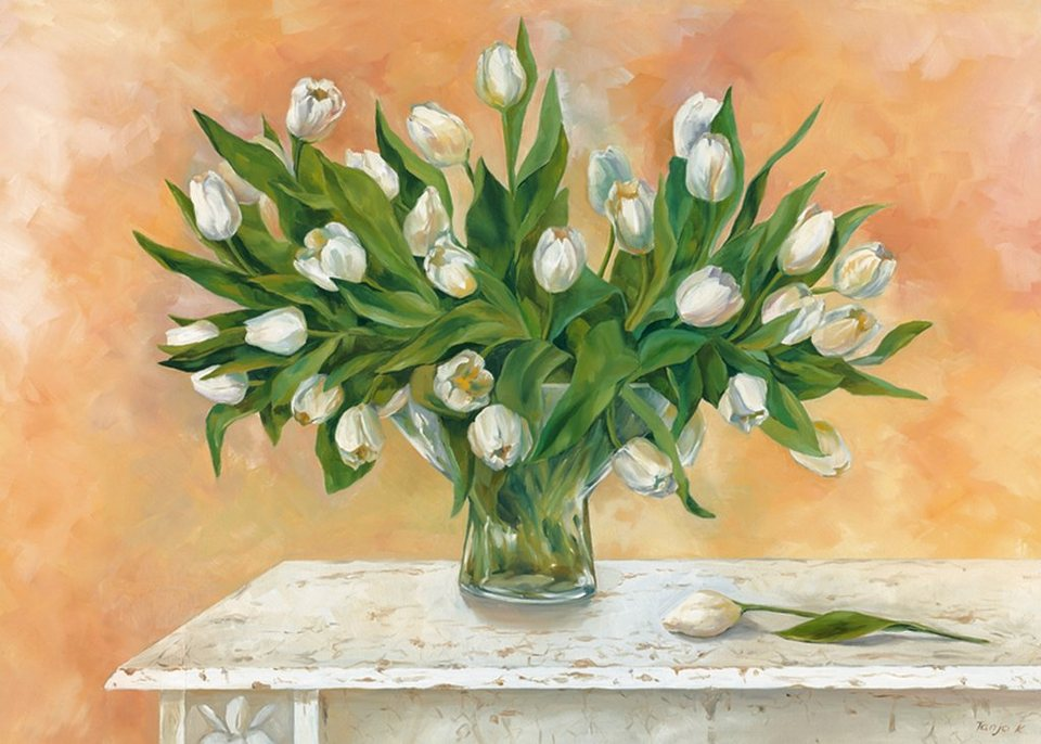 Bild, Kunstdruck, Home affaire, »Tanja Kowak: Weiße Tulpen II«, 69/49 cm in Creme