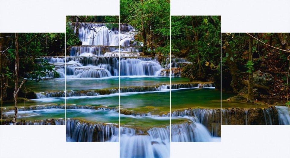 Leinwandbilder, Home affaire, »Wasserfall in Thailand« (5-tlg.) in Grün