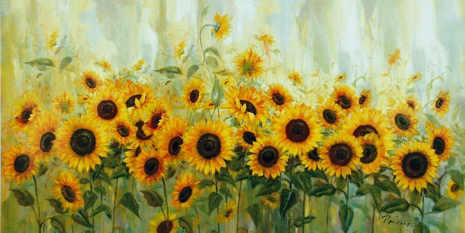 Bild, Kunstdruck, Home affaire, »Prieur: Sonnenblumenwiese«, 99/49 cm in Gelb