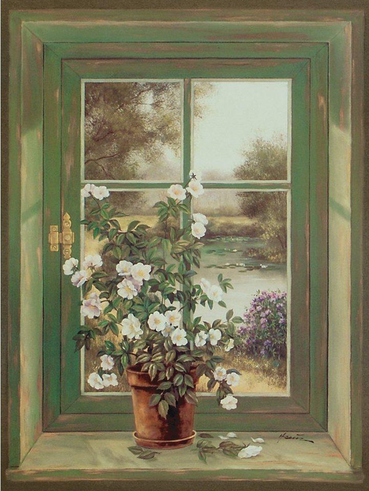 Bild, Kunstdruck, Home affaire, »A. Heins: Wildrosen am Fenster«, 57/79 cm in Grün