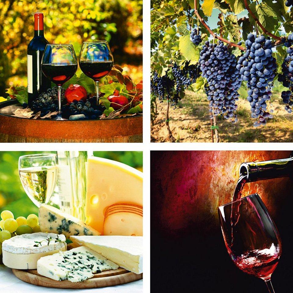 Leinwandbilder, Home affaire, »Gläser, Weintrauben, Käse, Wein« (4-tlg.) in Rot