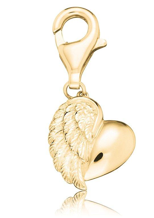 Charms-Einhänger, »Herzflügel, ERC-HEARTWING-G«, Engelsrufer in silber 925/vergoldet